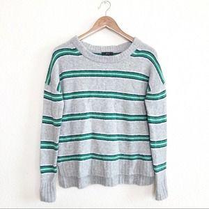 J Crew Oversized Green Grey Striped Sweater XXS